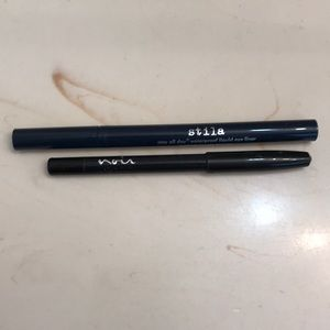 Duo of eyeliners. Liquid and pencil